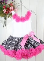 2014 Pop Zebra  Baby Tutu Skirt with Zebra Pattern and Butterfly 5 pcs/lot Baby Birthday Clothes Gift in stock