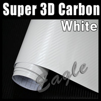 High Quality 3D Macromolecule WHITE Carbon Fiber Film / Car Vinyl Wrap Sticker film / Size: 1.52 x 30m / FREE SHIPPING FEDEX