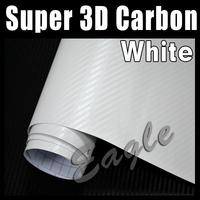 High Quality 3D Macromolecule WHITE Carbon Fiber Film / Car Vinyl Wrap Sticker film / Size: 1.52 x 30m / FREE SHIPPING FEDEX