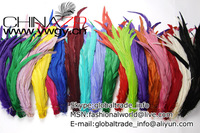 Free Shipping 100pieces/color/lot Factory Outlets Wholesale Length 25-30cm Dyed Rooster tail feathers for Decoraiton