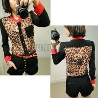 New Fashion Women Chiffon Blouse Top shirts Long Sleeve Leopard Shirt M,L,XL free shipping B2# 4045