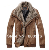 100% Quality Guaranteed Men Leather Jacket Motorbike Fur Collar Blue-Black-Brown M-L-XL-XXL Free shipping Drop Shipping