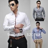 Free Shipping NEW Men's FIT Slim Dot Dress Shirts Long Sleeved Cotton Casual Shirt Blue White Grey pinkM-XXL TS58 Drop Shipping