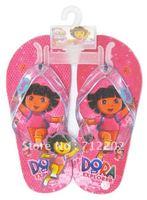 Free Shipping wholesale 2012 girls glitter decoration cartoon dora beach shoes Summer slippers kids fashion Running Dora red
