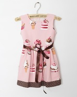 New Brand Baby Girl Cupcake Dress 100% Cotton With  Butterfly Baby Clothes for Birthday Party 1 pcs 6 Sizes 100% Real Photo