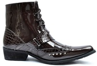 Men's Fashion Pointed-Toe Long Snake Pattern Strap Attached Lace Up Casual Shoes Ankle Boot Size US 7-10 -M427
