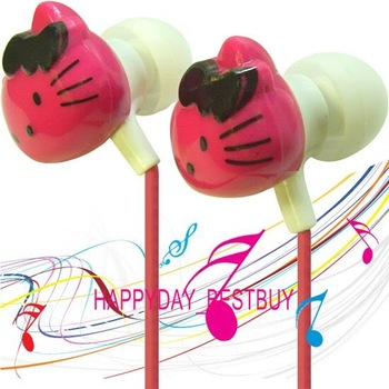 3x Sanrio hellokitty hello kitty KT earpiece EARPHONE ear phone headset earbud mp4 MP3 radio MP4  freeship