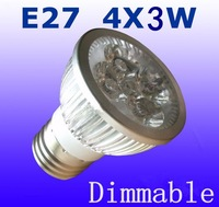 Wholesale -20pcs/lot  E27 Dimmable 85-265V 4x3W 12W 600LM High Power Energy Saving LED Light LED Spotlight LED Downlight