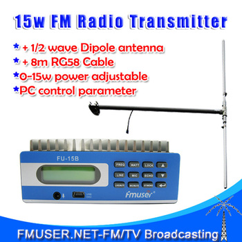 New! FMUSER  Transmitter FU-15B FM transmitter PC Control 0-15W adjustable+1/2 wave DIPOLE antenna+power supply