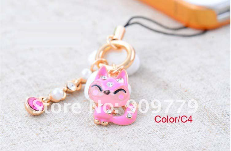 Credit100/Free Shipping/custom phone pendant/inlaid diamond cute little fox mobile phone chain #j-617(China (Mainland))
