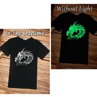 dragon T-shirt Chinese style luminous short sleeve tee fashion O-neck t shirt cool man shirts china wind M- XXXL free shipping