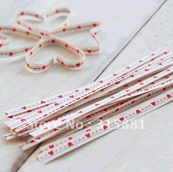 Red heart   Wire Metallic Twist Tie  10cm  1000pcs/lot