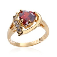 Size 5/6/7/8/9 Heart Love Womens 10KT Yellow Gold Filled Red Garnet Ring Gift