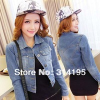 Lady jeans jackets women Hot-selling plus size(S,M,L)blue color long-sleeve personalized all-match ladies denim short jacket