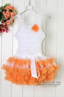2012 New Ball Gown Knee Length Orange Girl Dress Ruched Petti Kids Dress Tutu Dresses For Baby Girl Wear Children Clothing