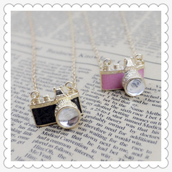 Fashion jewelry Camera pendant chain necklace mix color free shipping N545(China (Mainland))
