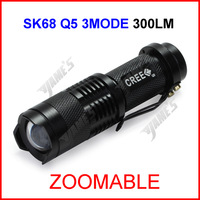 ( 50 pcs/lot ) SK68 Black UltraFire CREE Q5 Zoomable Focus LED 300lumen Waterproof Mini 14500 AA Camp Flashlight Torch 3Mode