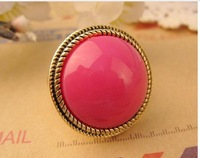 R1023 Green/Orange/Pink Rings Ladies Stylish Jewelry Round Shape Ring  J/C
