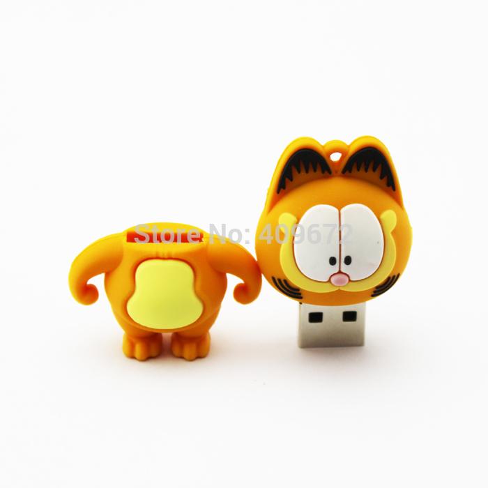 Retail cartoon animal Garfield shaped pen drive usb flash drive pendrive memory stick disk 2G/4G/8G/16G/32G Free Drop shipping