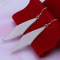 Hot Sale!!Free Shipping 925 Silver Earring,Fashion Sterling Silver Jewelry Fashion Net Ladder Earrings SMTE061