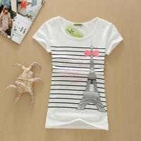2014 Women T-Shirt Print Eiffel Tower T-shirts F14