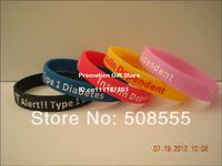 Diabetes Awareness Wristband, Type 1 Diabetes Insulin Dependent Medical Alert Bracelet, Adult, 100pcs/lot, Free Shipping