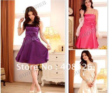 2014 Fashion Women's Girls Bowknot Waist Sleeveless Formal Full Printing Fabric evening Dress Free shipping drop shipping 5588