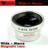 0.67x Wide Angle Lens+Macro lens,Detachable maganetic Lens with adsorption for iPhone 4/5 Samsung,EMS Free shipping/50pcs