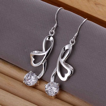 Hot Sale!!Free Shipping 925 Silver Earring,Fashion Sterling Silver Jewelry Ribbon Earrings SMTE196