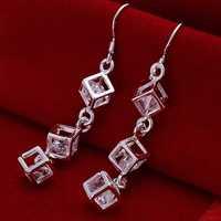 Hot Sale!!Free Shipping 925 Silver Earring,Fashion Sterling Silver Jewelry White Stone Earrings SMTE206