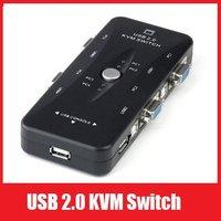 Free Shipping New Portable USB KVM 4 Ports Selector VGA Print Auto Switch Box V322