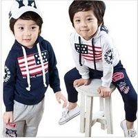 Retail  chothing sets kids clothes children clothing boys wear Sport suit 2012 new style HOT  white dark blue