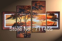 3 Size Free Shipping 100% Hand painted african scenery 4pcs group oil painting High Quality Wall Art on Canvas wholesale/ A-010