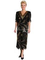 Custom HandMade Top Quality Discount V-Neck Half Sleeves Silk Sequined Tea Length High Covered Back Dubai Arabic Evening Dresses