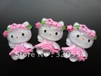 "size 1"" pink flower Hello kitty  FlatBack Resins Scrapbooking Embellishment 50pcs Free Shipping"