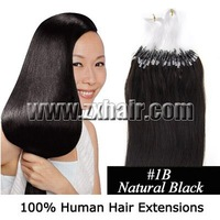 "100% Indian Remy Micro Loop  Human Hair Extensions 16""  #1B-Natural Black,0.4g/s,40g/Bag/100s"