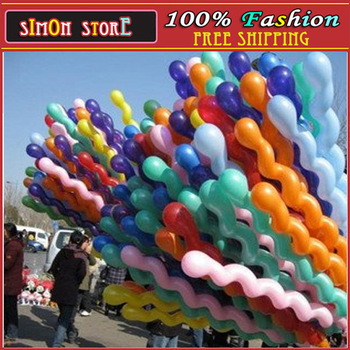 Wholesale - Latex Colour Mixture Screw Balloon Spiral Balloons For Wedding Birthday Party  100pcs/lots free shipping simon store