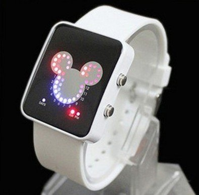 Fashion Binary 29 LED Light Red Blue Unisex Watch Mickey Mouse style watch ODM(China (Mainland))