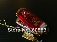 Free Shipping 2014 New hot sale Luxury Metal mobile phone Fashion Unlocked Dual sim card steel car key cell phones free chain