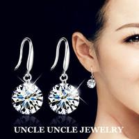 Classic!!! 925 Sterling Silver Top Swiss Zircon Eight Arrows Eight Heart Lady Hook Earrings Wholesale