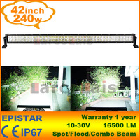 "240W 42"" LED Bar Work Working Driving Light OffRoad Fog Lamp 10V-30V Car Truck Wide Flood Beam SUV ATV"