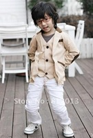 free shipping  2012 children's clothing patch false 2 waistcoat small suit suit coat#