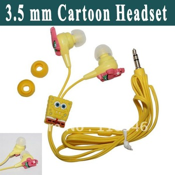 New SpongeBob Cartoon 3.5 mm Earphone Headset Headphone In Ear Earphone For Mobile Phone Super clear sound Free shipping