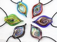 New style 6pcs wholesale lots colorfu lfashion gold dust waterdrop Lampwork murano glass pendant necklace jewelry