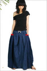 S0011 Free shipping women's high quality linen long skirt with patchwork pocket(China (Mainland))