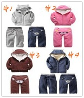 177# FREE SHIPMENT WINTER THICK STYLE  HOODIES+PANT 3 SETS/LOT KID'S SUITS