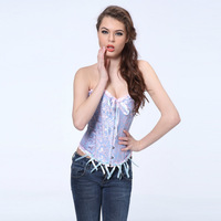 Sexy blue  body shaper  Lace up boned  Corset  Bustier  clubwear   +G-string  S-6XL