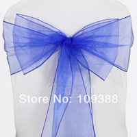 Free Shipping 50pieces Royal Blue Organza Chair Covers Sash Bow Wedding Party