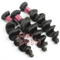 aaaaaa grade hair mix length 3pcs/lot loose wave hair extension 1B color strong double weft loose wave hair