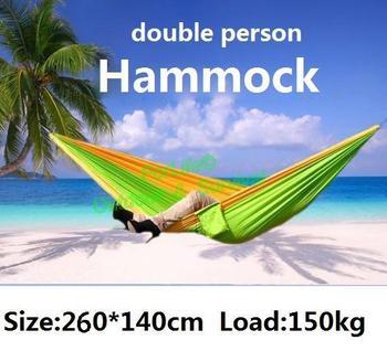 Double Hammock camping survival hammock Parachute cloth outdoor or indoor 260*140cm 1set